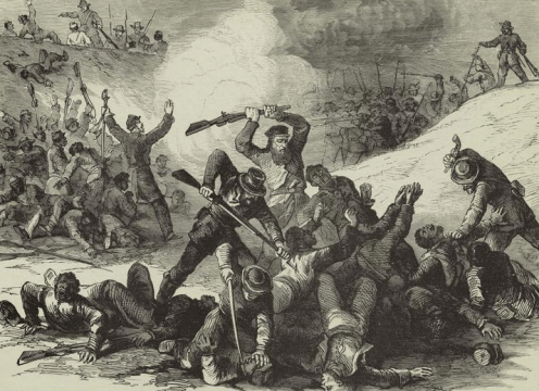 The war in Tennessee : Confederate massacre of Federal troops after the surrender at Fort Pillow, April 12th, 1864. Published in 1894.
