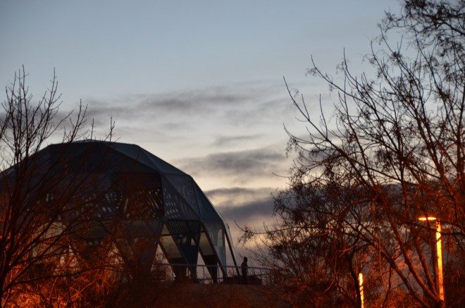 Beautiful winter twilight over Explora as we strolled from parking to Old Town.