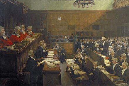 John Lavery (1856–1941) High Treason, Court of Criminal Appeal: the Trial of Sir Roger Casement, 1916 Oil on canvas 194.5 x 302.5 cm © UK Government Art Collection