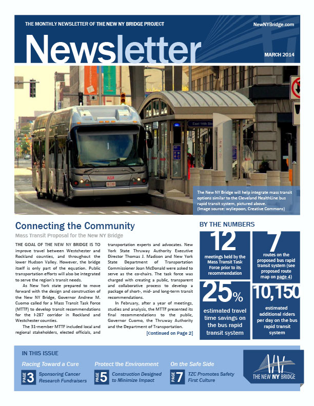 Monthly Newsletter The New NY Bridge Project