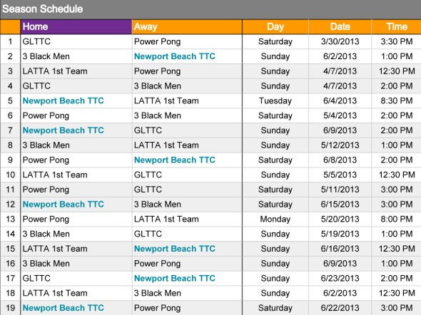 Newport Beach TTC League Schedule 2013