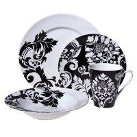 Damask 16-pc. Dinnerware Set  Black/ White | New Roasting ...