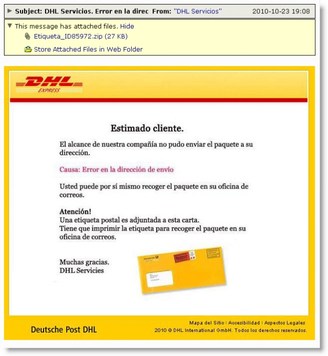Infected DHL Emails Target Spanish Speakers