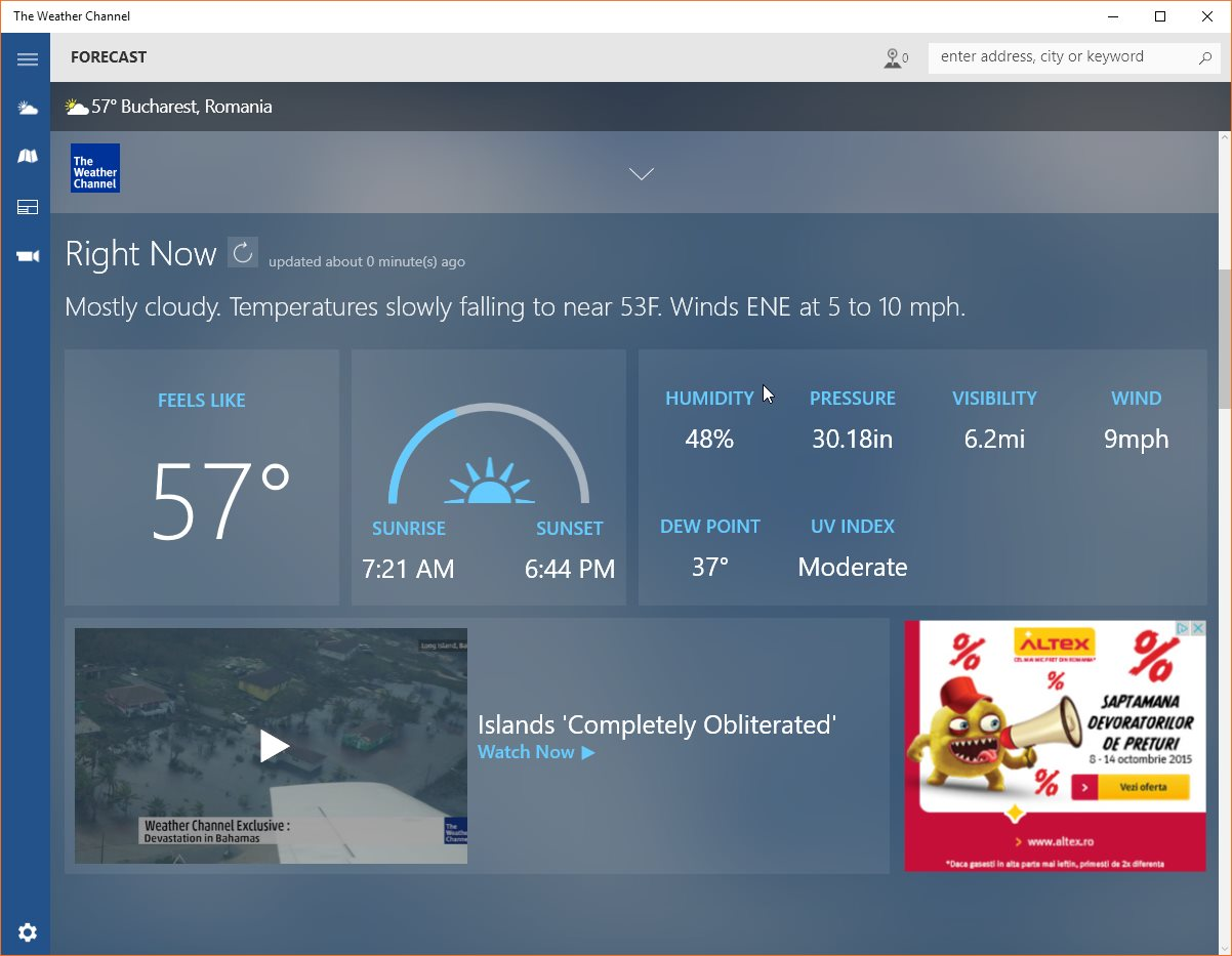 weather channel app for microsoft