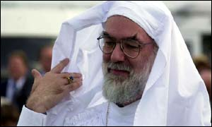 The next Archbishop of Canterbury, Dr Rowan Williams, in head gear at his induction as a Druid