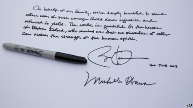 Note in visitor's book written by President Obama and signed by him and the first lady, 30 June 2013