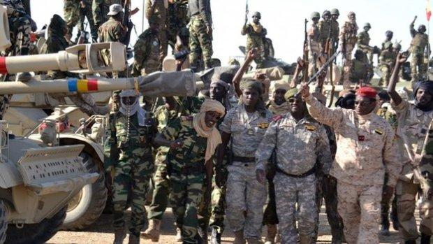Chadian soldiers gather on 1 February 2015 near the Nigerian town of Gamboru