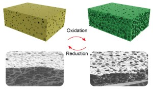 Changing membrane pore size by oxidation and reduction (Image Credit: University of Twente)