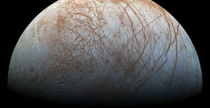 Jupiter's icy moon Europa displays many signs of activity, including its fractured crust and a dearth of impact craters. (NASA/JPL-Caltech/SETI Institute)