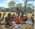 Stone tools used by our oldest hominin ancestors 2.5 million years ago are believed to have sparked the evolution of human communication (Illustration by Jay Matternes) Picture credit: University of Berkeley