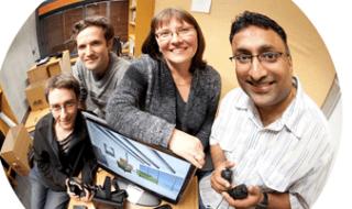 University of Canterbury researchers Anthony Bracegirdle, Jay Holland, Professor Tanja Mitrovic and Dr Moffat Mathews Image credit : University of Canterbury