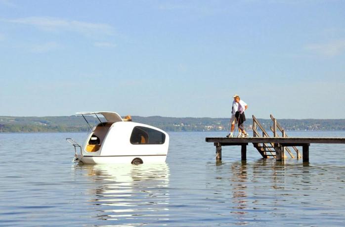 Sealander der schwimmende wohnwagen campanda news Sealander caravan