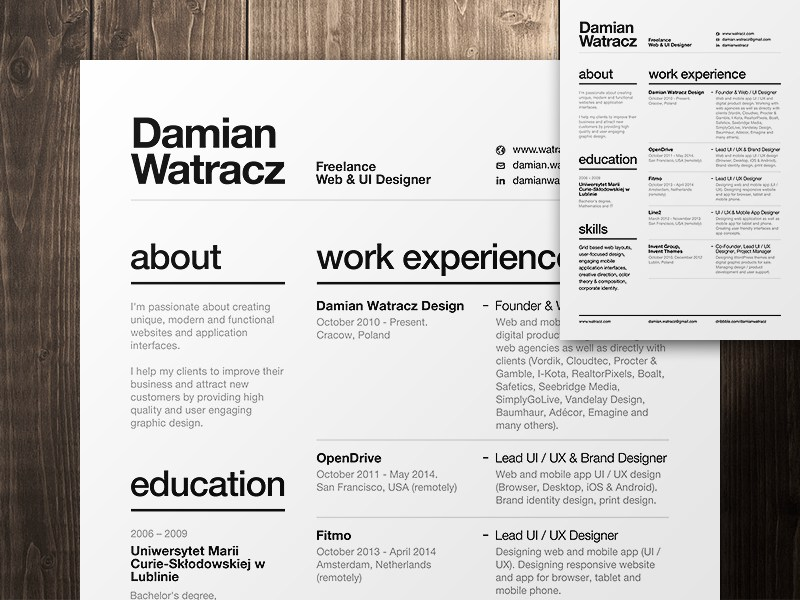 2 pages swiss resume
