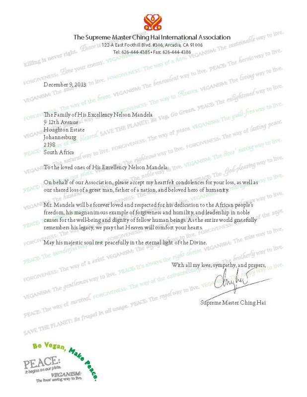 Condolence Letter Nelson Mandela - The Supreme Master Ching Hai - example of a condolence letter