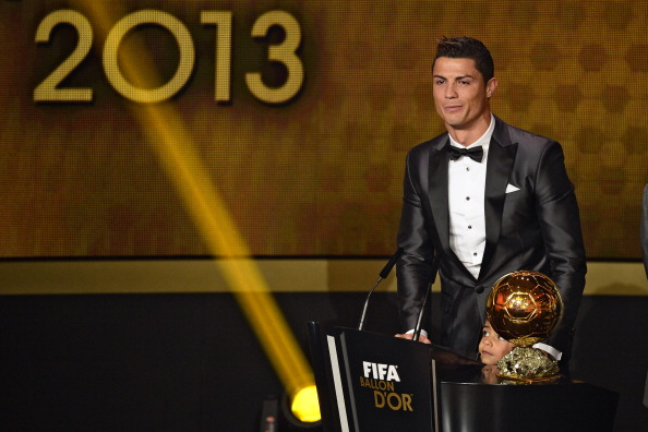 Real Madrid's Portuguese forward Cristiano Ronaldo delivers a speech after receiving the 2013 FIFA Ballon d'Or award for player of the year during the FIFA Ballon d'Or award ceremony at the Kongresshaus in Zurich on January 13, 2014.  AFP PHOTO / OLIVIER MORIN        (Photo credit should read OLIVIER MORIN/AFP/Getty Images)