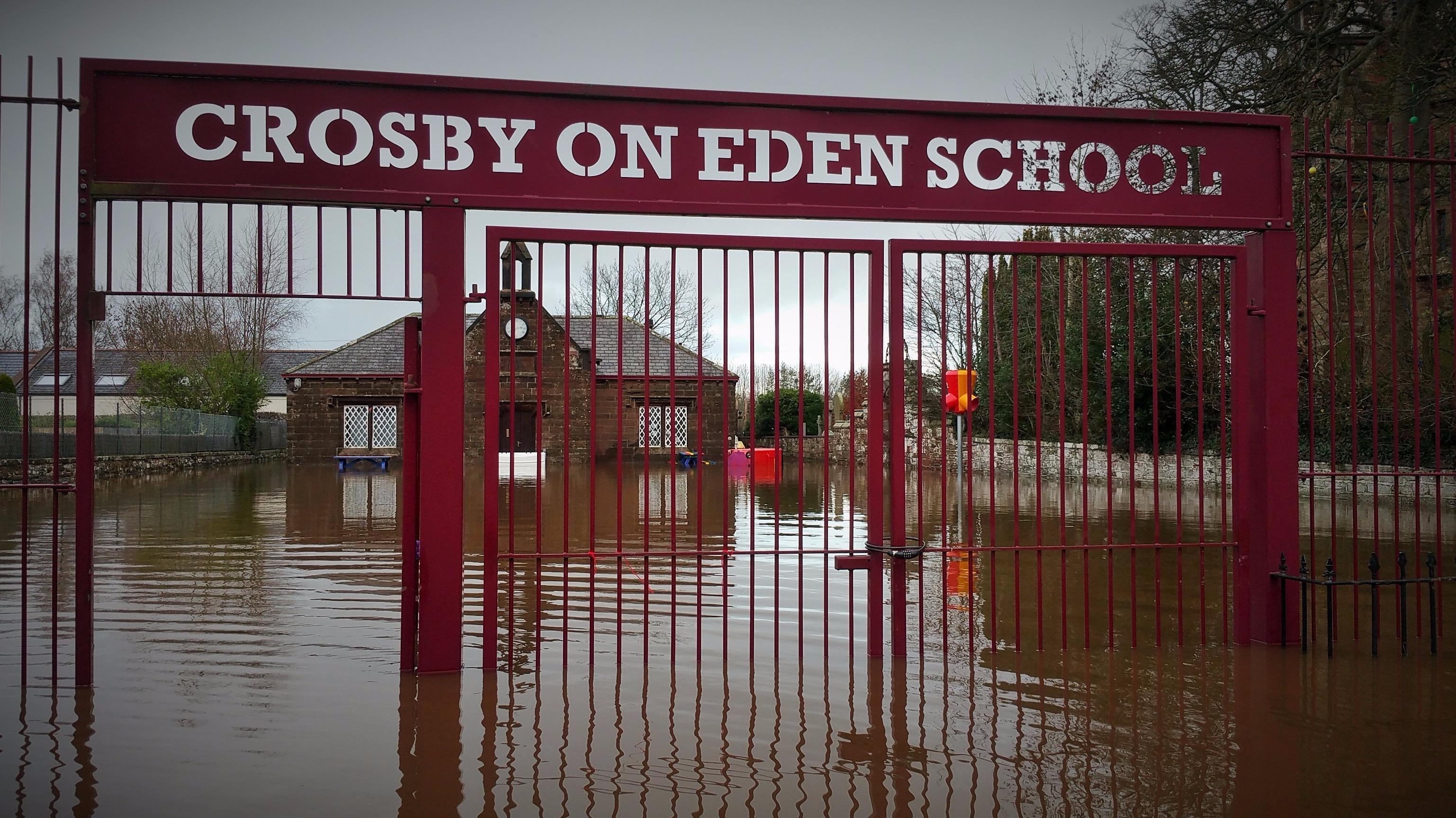 Front Gate Cumbrian School Reopens After Flooding | Border - Itv News