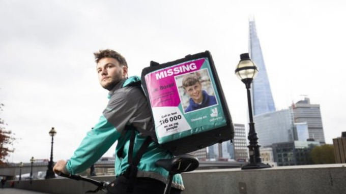Deliveroo riders to display missing person posters in a bid to \u0027find