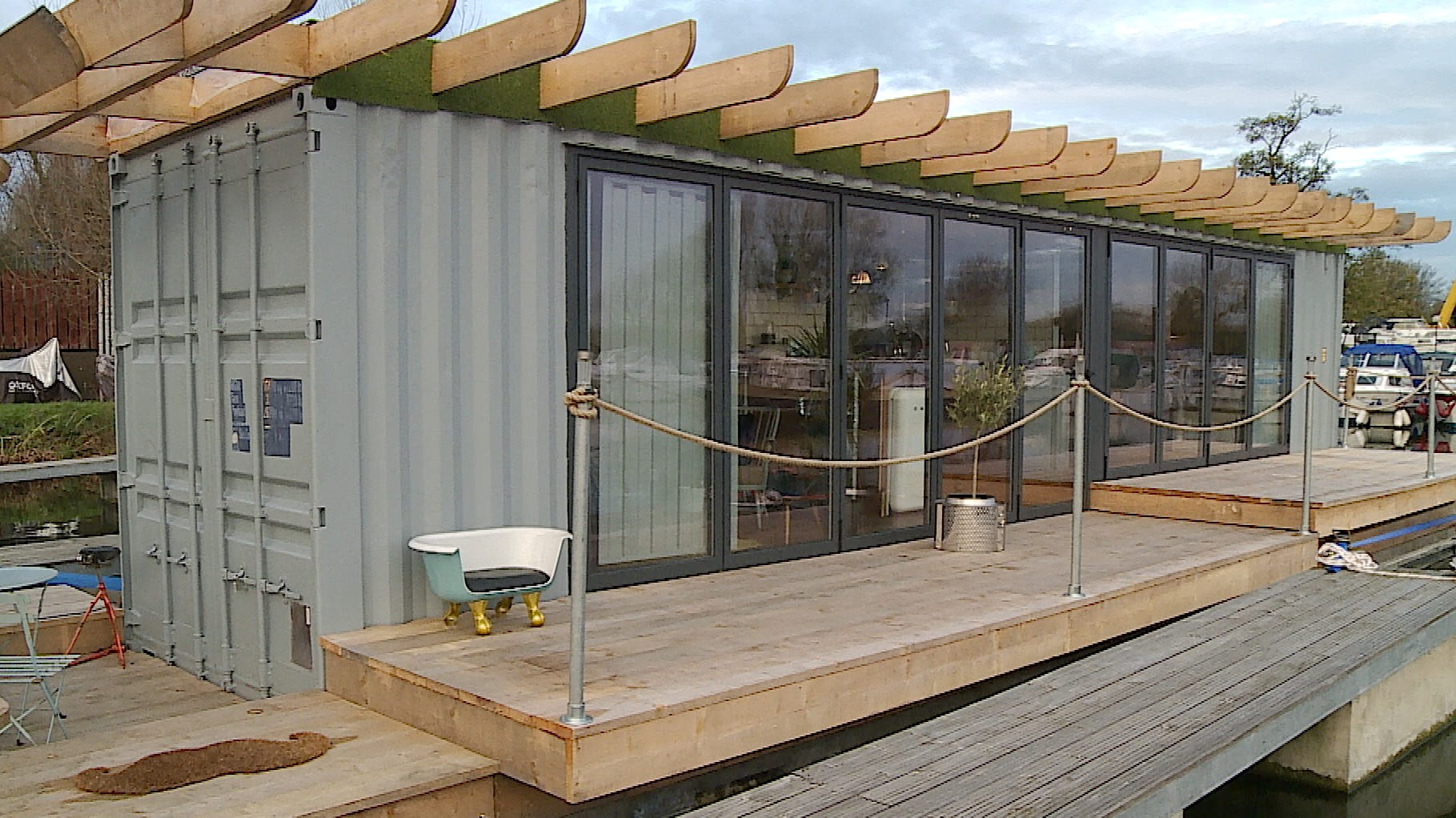 Floating Shipping Container Makes Ideal Low Cost Home Anglia Itv News - Containers For Storage