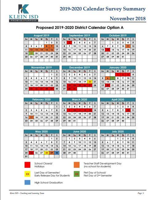 2019-2020 Calendar Survey Results Klein ISD Newsroom