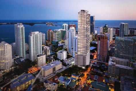 Brickell Flatiron Miami Aerial view