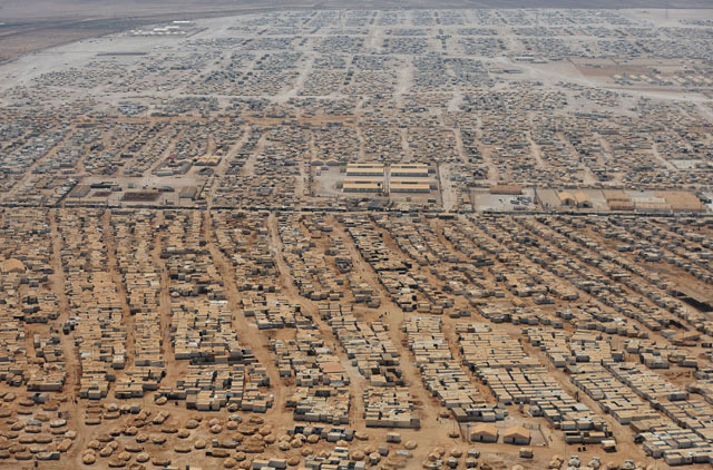 An aerial view of the Zaatari refugee camp in Jordan.