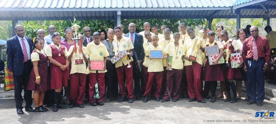 Government officials, sponsors and awardees at Wednesday's celebration of Schools' Sporting Excellence at Soufriere Comprehensive Secondary School.