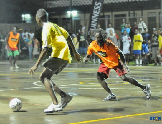 Action from the opening game in Saturday's Guinness Street Challenge Small goals football competition.