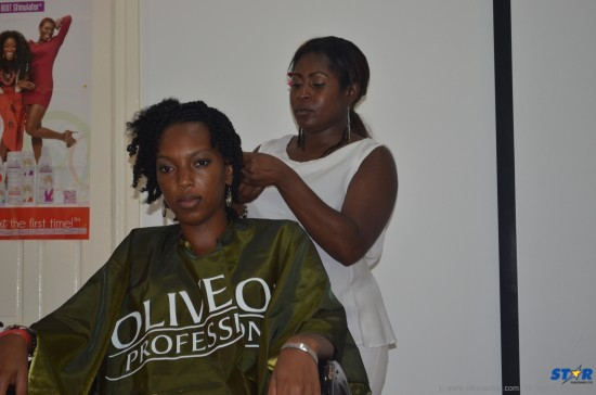 The event featured live hair styling demonstrations.