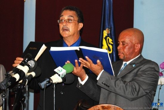 Dr.Kenny D. Anthony takes the oath of office for the 3rd time as prime minister of St.Lucia