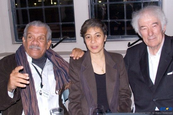 """Nobel Laureate Derek Walcott (L) Trinidadian composer Dominique Le Gendre, who composed music for  Heaney's """"Burial at Thebes"""" and Seamus Heaney."""