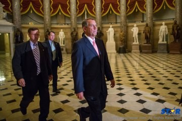 Speaker of the House John Boehner, R-Ohio, on his way to a procedural vote on the House floor, at the Capitol in Washington.   The Republican-controlled House and the Democrat-controlled Senate are at an impasse as Congress continues to struggle over how to prevent a possible shutdown of the federal government when it runs out of money.