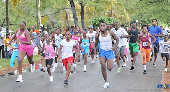"""Off and running at the start of the La Feuille Pentecostal Church """"Run for Jesus."""""""