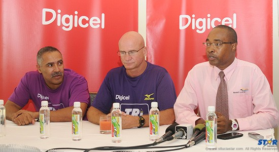 "From left to right the head table at Wednesday's ""Tri St Lucia"" press conference. Double Gold medallist in the decathlon Daley Thompson; Event Director, John Lund and Public Relations Manager at the St Lucia Tourist Board, John Emmanuel."