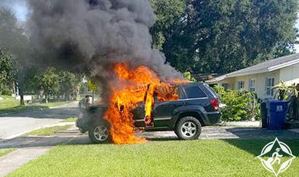 هاتف سامسونغ غلاكسي نوت 7 يتسبب في احراق سيارة عائلية