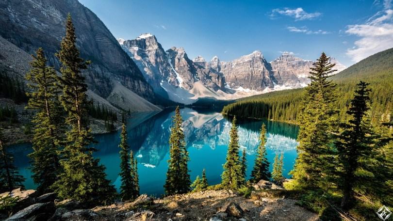 Calm lake in Rocky Mountains, Alberta, Canada