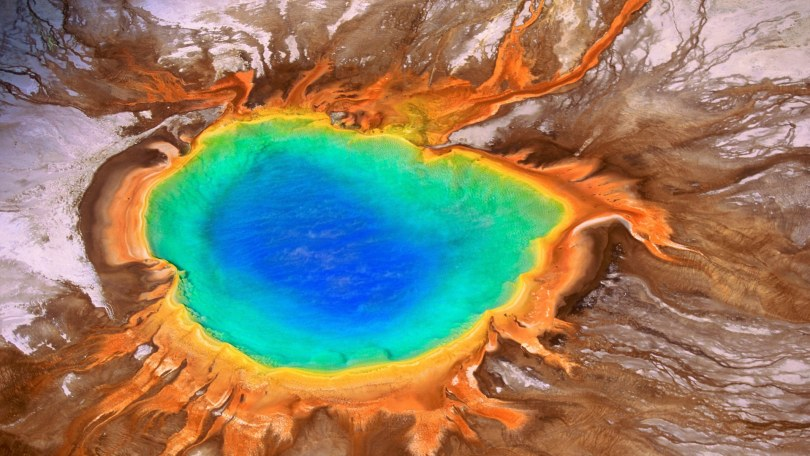 Aerial, Grand Prismatic Spring, Yellowstone National Park, Wyoming