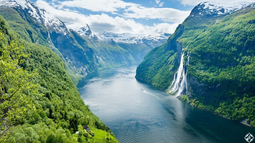 Overview of Geirangerfjord and Seven Sisters waterfall.