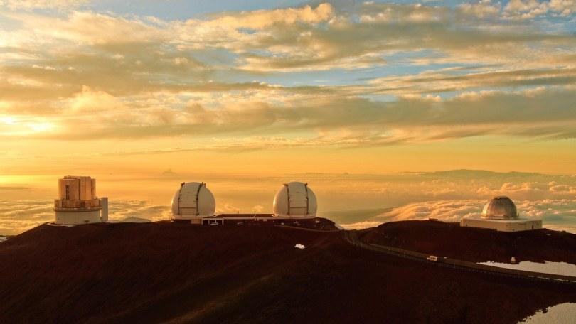 astronomical observatory on Mount Mauna Kea at sunset, USA, Hawaii