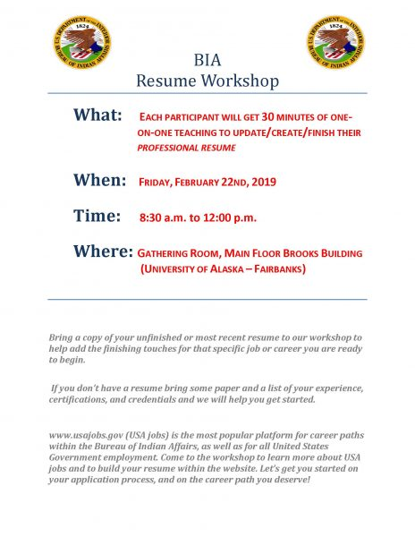 BIA resume workshop - UAF news and information