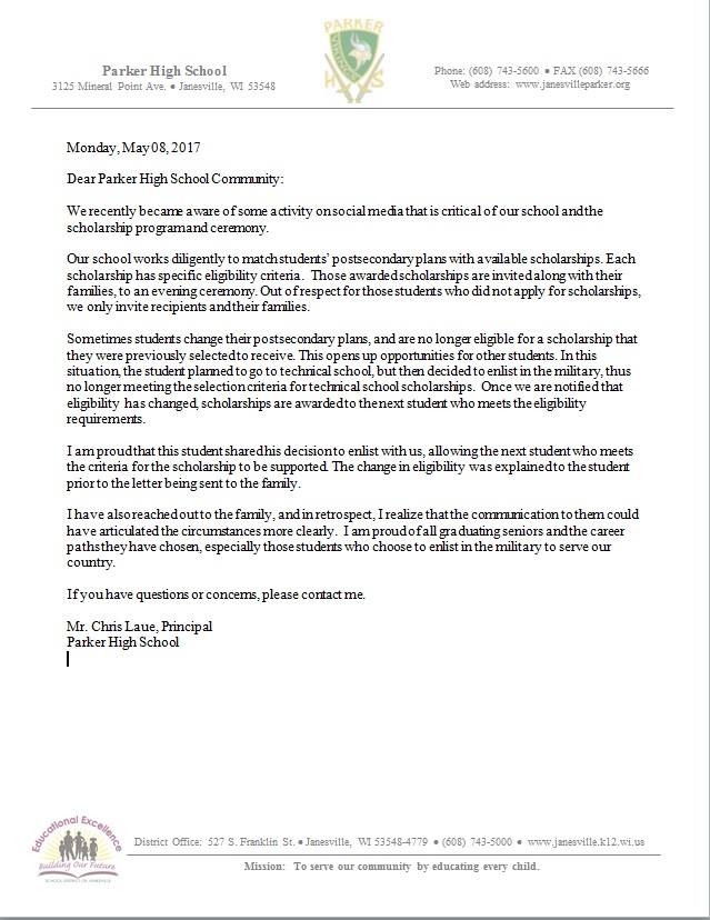 Parker High School Counselor\u0027s Letter to Military Enlistee Starts