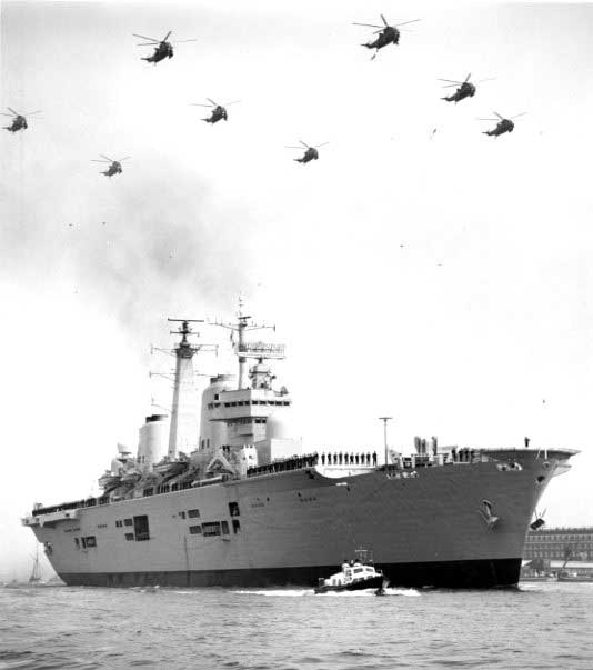 HMS Invincible returns to the U.K. from the Falklands in 1982[U.S. Naval Institute Archives]