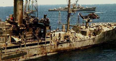 The scarred USS Liberty shortly after the attack in 1967