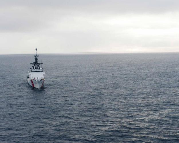 The Coast Guard Cutter Bertholf sails in the Arctic Ocean near Barrow, Alaska, Aug. 28, 2012. U.S. Coast Guard Photo