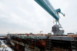 The first Gerald R. Ford class carrier (CVN 78) will face further delays if Congress passes a year-long Continuing Resolution. Huntington Ingalls Industries' Photo