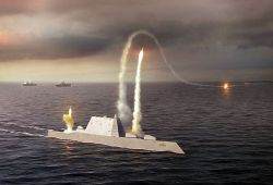 An artist rendering of the Zumwalt class destroyer DDG 1000. US Navy Illustration