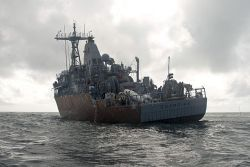 USS Guardian (MCM 5) sits aground on Tubbataha Reef on Feb. 8. US Navy Photo