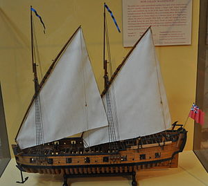 Model of the 1776 row galley USS Washington