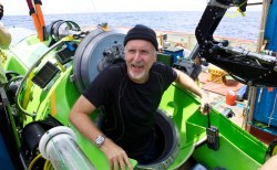 James Cameron emerges from the DEEPSEA CHALLENGER submersible after his successful solo dive to the Mariana Trench on March 26, 2012. National Geographic Photo