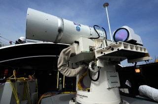 Laser Weapon System (LaWS)  aboard the guided-missile destroyer USS Dewey (DDG-105) in San Diego, Calif. in 2012. US Navy Photo