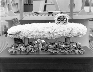 Floral replica of USS Thresher. Naval Institute Archives